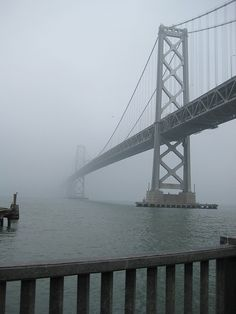 a foggy morning just under the bay bridge #sanfrancisco