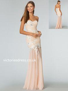 Sheath/Column Sweetheart Sleeveless Tulle Prom Dress