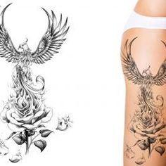 Phoenix rising from a rose designed as a leg tattoo
