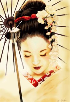 Beautiful Artwork featuring a Geisha ( I love my geisha tattoo....)