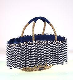 Prírodná slamená taška so strapcami, modrá