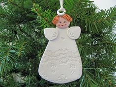 Redhead Angel in Lace Ornament. $15.00, via Etsy.