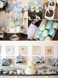 Parisian Paris Cafe themed baby shower  - I love the tea theme & the macarons in tea cups, truffles on little spons are very cute. Would be easy to find mismatches china for place settings. In blue or pink could work for either sex.