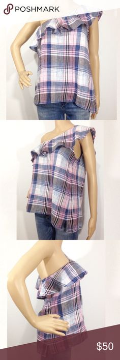 """ANTHROPOLOGIE CLOTH & STONE ONE SHOULDER TOP Anthropologie Cloth & Stone Pink Plaid Blouse Size: Medium Condition: New with store tags, no brand tag 55% linen, 45% Cotton Features: Really nice pink plaid allover, one-shoulder with ruffles around neckline. Split sides Imported. Measurements from armpit to armpit: 19"""", length from shoulder to hem: 24"""" approx. Cloth & Stone Tops Blouses"""