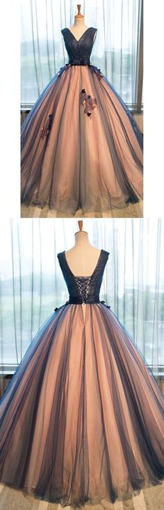 Chic Ball Gown Prom Dresses Appliques V-neck Lace-up Floor-length Prom Dress/Evening Dress JKL185