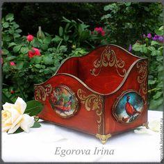 """Купить Короб,журнальница,органайзер""""Фазаны"""" - бордовый, коричневый, шоколадный, короб для хранения, короб, коробка для мелочей"""