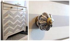 Michaela Noelle Designs: DIY Dresser Makeover: Love Me Some Chevron Chevron Dresser, Boy Dresser, Changing Table Dresser, Dressers, Dresser Knobs, Door Knobs, Diy Dresser Makeover, Furniture Makeover, Diy Furniture