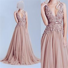 Hot Sale V-neck Long A-line Dusty Pink Lace Tulle Prom Dresses, BG0010