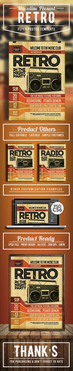 Retro Music Radio Flyer Poster  Music Radio Photoshop And Flyer
