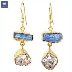 Gold-overlay Kyanite & Herkimer Diamond Earrings