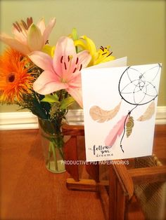 """Follow Your Dreams"" Handmade Card -- Hand Drawn Dream-Catcher with Handmade Paper Feathers"