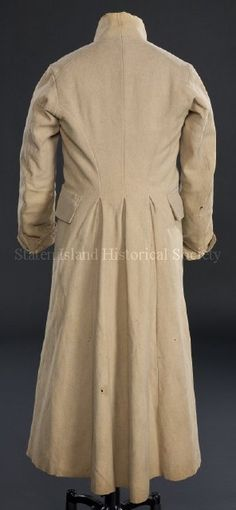 1800-20 ca golden tan and green wool overcoat via staten islant historical soociety