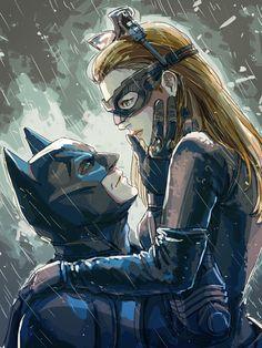 Batman & Catwoman - Beautiful, sweet drawing, based on The Dark Knight Rises.