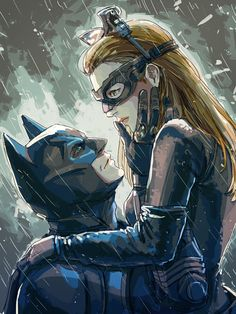 Batman & Catwoman - Beautiful, sweet drawing, based on The Dark Knight Rises.
