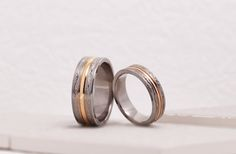 結婚指輪|With・和み。  素材:チタン/イエローゴールド。 詳しくは、2015年6月9日の館林工房のスタッフブログ「優しい結婚指輪☆」でご紹介。