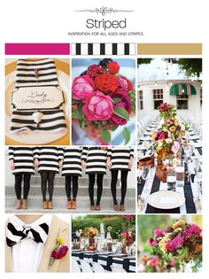 Black and white striped wedding inspiration board, color palette, mood board via Weddings Illustrated