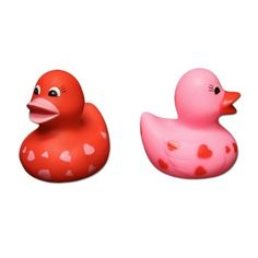 """Sweetheart Rubber Ducks by US. $12.75. 1 Dozen. These heart rubber duckies will make bath time fun. Give one to your sweetheart on Valentine's Day to express what's in your heart. Each rubber ducky is decorated with hearts. Size 3 1/2"""" T. U.S. Toy Exclusive!"""