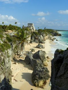 Tulum Beach and El Castillo Temple at Ancient Mayan Site of Tulum, Quintana Roo, Mexico