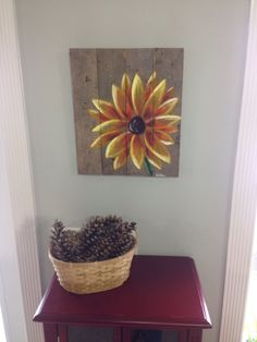 Yellow Flower painted with acrylic on reclaimed pallet wood. on Etsy, $50.00