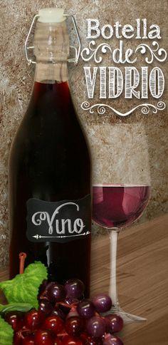 Botella de vidrio para vino / uvas / copa / Etiquetas Negras de Pizarrón