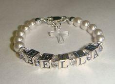 Baby Girl Baptism Name Bracelet - Swarovski Pearls & Crystals - Sterling Silver - Personalized - Swarovski Crystal Cross. $30.00, via Etsy.