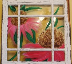 Items similar to Handpainted flowers on a naturally distressed white window pane on Etsy