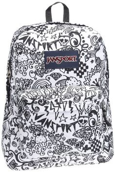 back to school backpack, backpack for teens, doodle jansport backpack, jansport backpack, jansport bag, jansport black white doodle, jansport doodle, school backpack