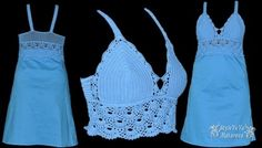 Irish lace, crochet, crochet patterns, clothing and decorations for the house, crocheted. Crochet Bra, Crochet Fabric, Crochet Woman, Free Crochet, Crochet Patterns, Crochet Tops, Crochet Summer Dresses, Irish Lace, Yarn Over