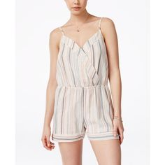 Be Bop Juniors' Striped Surplice Romper ($27) ❤ liked on Polyvore featuring jumpsuits, rompers, white rompers, surplice romper, stripe romper, playsuit romper and striped rompers