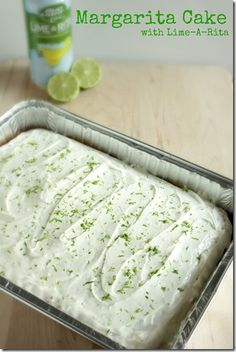 Margarita Cake with Lime-A-Rita? Think I'll try a Straw-ber-ita instead w strawberry applesauce. Strawberry jello mix added to icing instead?