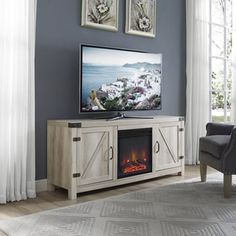 Wood TV Stand With Fireplace Driftwood 70 Walker Edison Gray