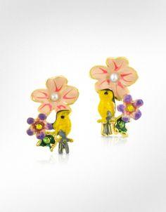Oh man. SO TYPE 1. Les Nereides  Alphabet Fleuri - Bird & Flower Earrings