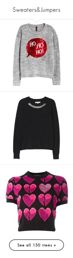 """""""Sweaters&Jumpers"""" by taught-to-fly19 on Polyvore featuring tops, sweaters, shirts, h&m, embroidered shirts, grey shirt, long sleeve shirts, xmas sweaters, knit shirt e black"""