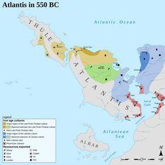 Atlantis in Early Iron Age, 550 BC. Imaginary Maps, Prehistoric World, Map Background, Tarot Learning, Alternate History, Fantasy Map, Fantasy Setting, Iron Age, Historical Maps