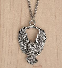Soaring Eagle Necklace | This handsome necklace features a pewter soaring eagle pendant... | Necklaces