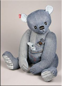 """""""Red-Levi"""", a teddy bear created from old jeans! (A great way to recycle/refashions old denim clothes.)"""