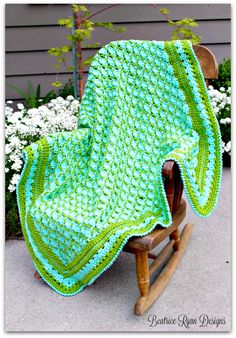 Frog Pond Baby Blanket | You will have as much fun making this easy crochet baby blanket as your little one will have snuggling in it! Enjoy the fun texture of puff and shell stitches with this design.