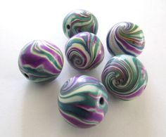 Marbles Handmade Polymer Clay  Beads Jewelry Supplies. $9.00, via Etsy.