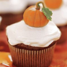 Pumpkin's not just for pies. Mix up these cupcakes with canned pumpkin and lots of spice, and top them with your favorite cream cheese frosting for a sweet snack.