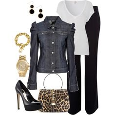 """""""Denim and Leopard"""" by averbeek on Polyvore"""