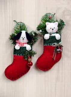 Felt Puppy & Kitten Stocking Ornaments