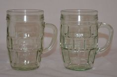 Vintage Green Tinted Glass Mugs With Raised Block Pattern Retro Farmhouse  #Unknown