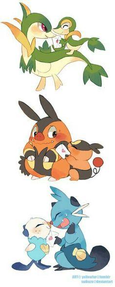 Valentine's Day, Snivy, Servine, Tepig, Pignite, Oshawott, Dewott, cute; Pokemon