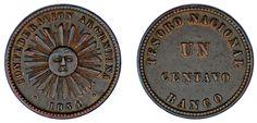 1 CENTS / 1 CENTAVOS. Cu. CONFEDERACIÓN ARGENTINA. 1854. VF+/MBC+. ATRACTIVA.