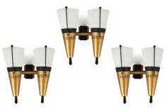 """STILNOVO - Tre appliques con doppio diffusore orientabile, - struttura in metallo[anni 50], mis en vente lors de la vente """"Design"""" à Sant'Agostino Casa d'Aste"""