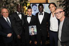 Domenico Dolce along with Adriano Galliani, Mario Balotelli, Stephan El Shaarawy, M'Baye Babacar Niang and Emanuele Farneti