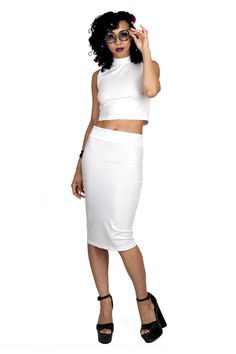White Leather-Look Turtleneck Crop Top by MessQueenNewYork on Etsy