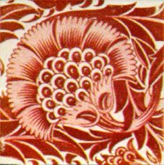 Sunflower Tile    William De Morgan (1839-1917)    Stylized sunflower in red lustre.