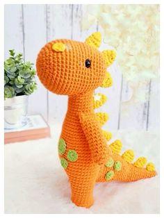 Crochet Dinosaur Pattern Free, Crochet Amigurumi Free Patterns, Doll Patterns Free, Doily Patterns, Crochet Baby Toys, Crochet Dolls, Yarn Organization, Crochet Dragon, Stuffed Animal Patterns