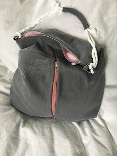 Large grey chic boho bag upcycled jean handmade classy